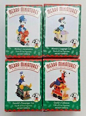 1998 Disney Hallmark Merry Miniature Mickey Express Train Set of 4 Figurines