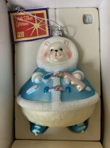 FIGI Glass Ornament PARKA PAL BEAR All That Glitter Large Christmas Holiday