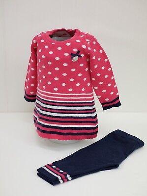Kanz® 2tlg-Set Mädchen Herbst Winter Kleid Dots & Stripes Gr. 68 pink/blau Winter Dot Kleid