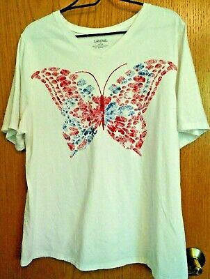Liz & Me White w Red & Blue Butterfly Short Sleeve T Shirt OX NWOT ()
