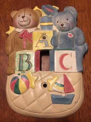 Kidsline Treasures Single LIGHT SWITCH PLATE Teddy Bear Bunny Rabbit baby blocks