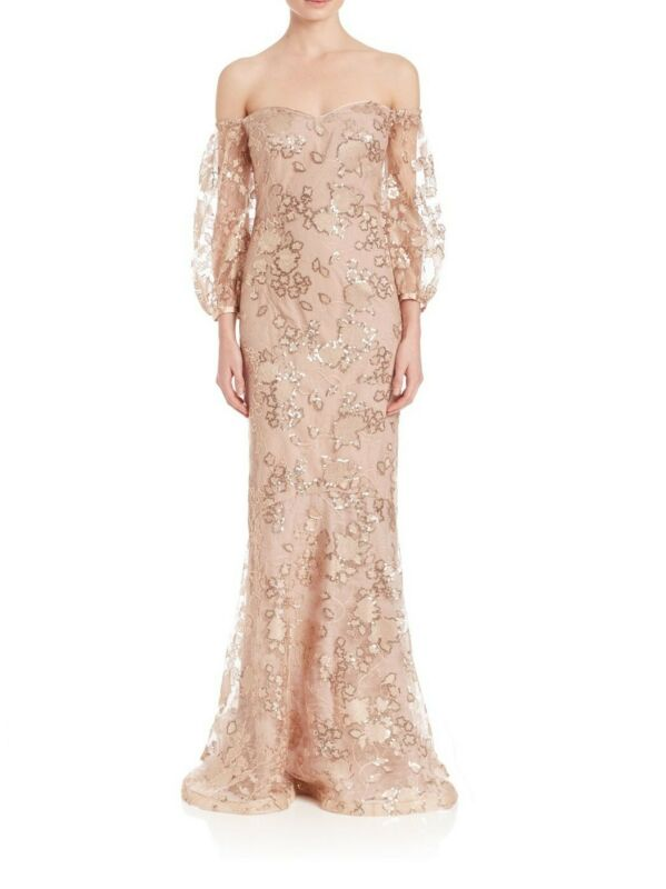 TERI JON Off the Shoulder Champagne Lace Formal Gown with Sequins $880