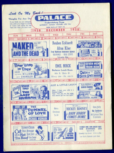 Fredericksburg, Texas Movie Flyer 87 Drive-in Palace Theater December 1958