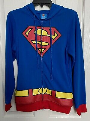 Superman Teens Costume Hoodie Zip Up Sweatshirt DC Comics Halloween M