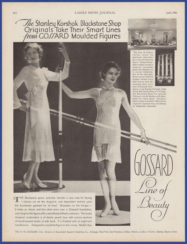 Vintage 1931 GOSSARD Blackstone Gowns Lingerie Print Ad 30
