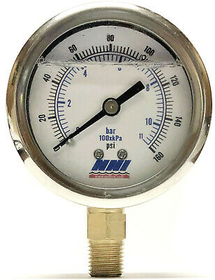 160 Psi 2-12 Dial 14 Npt Airwater Pressure Gauge Liquid Filled
