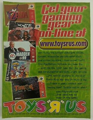 Toys R Us Zelda Turok Crash Bandicoot Print Ad Game Poster Art PROMO N64 PS1 TRU