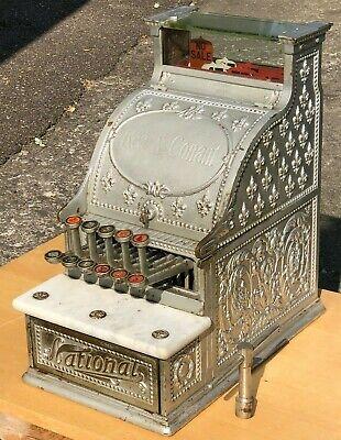 Antique National Cash Register Fancy Brass Model 5 Candy Store - Working w/Key