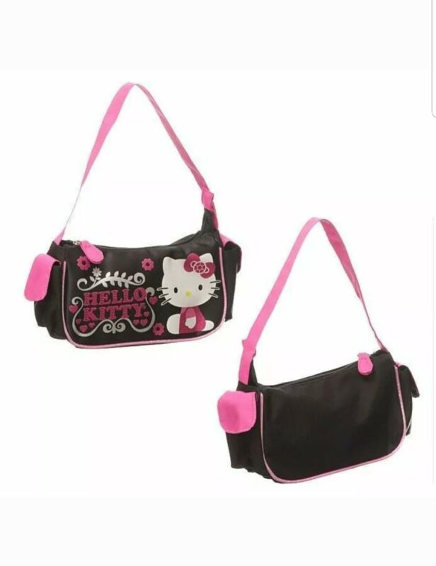 Hello Kitty Hearts and Flowers Purse Handbag by Sanrio, Baguette Style NEW