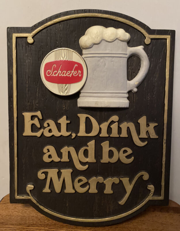Vintage Rare Original 1960's Schaefer Eat,Drink and be Merry Beer 🍺 Sign !