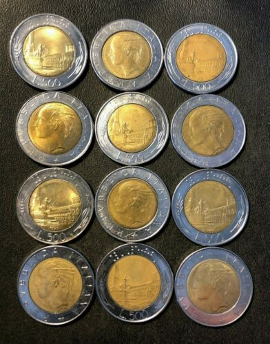 Old Italy Coin Lot - 500 Lire - BI-METAL - Hard to Find - Lot of 12 - FREE SHIP