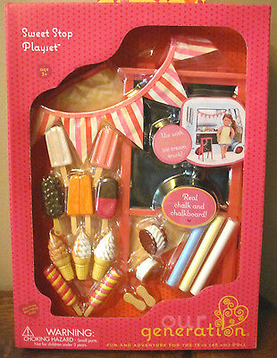 American Our Generation Sweet Stop Playset Food 4 Ice Cream Truck 18  Girl Doll