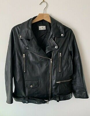Genuine leather biker jacket 90s grunge 10 12 Medium