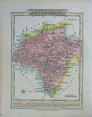 Antique map of Devonshire by William Lewis 1819
