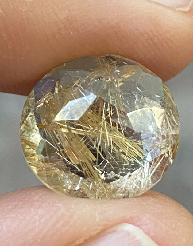 8.08ct Faceted Rutilated Quartz Round Cut Gemstone From Brazil