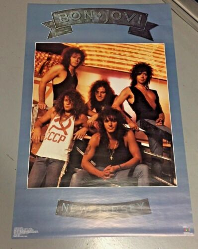 x1 Vintage 1988 Bon Jovi New Jersey Poster (22 x 34 inches) AUTHENTIC AND REAL