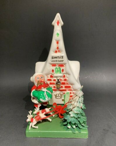 Vintage MCM Christmas Blow Mold Decoration Santa