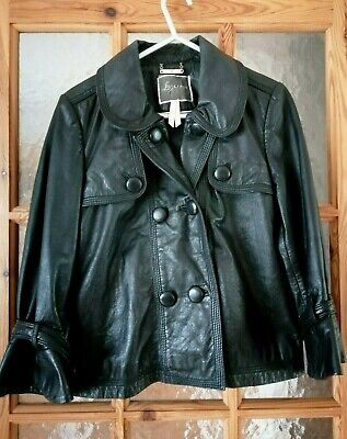 LIPSY Black Soft Real Leather Jacket Size:10 Chest:36""