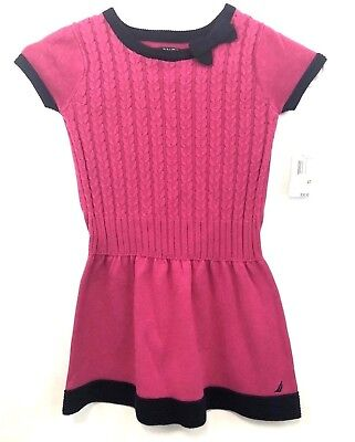 NWT Nautica Cable Knit girls toddler dress Size 4T Color: 671 Med Pink BTS
