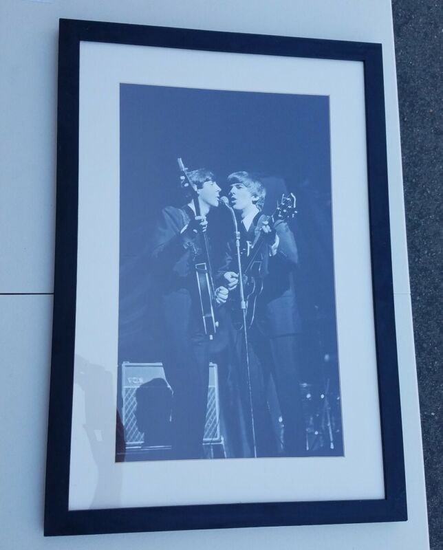 The Beatles Harrison McCartney Photo Poster British Invasion Rock Framed Matted