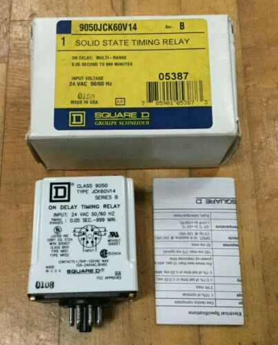 Square D Timing Relay 9050JCK60V14 / 0.05 - 999 Minute Range / 24VAC