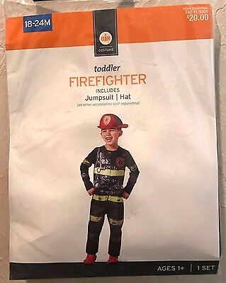 BOYS NEW NIP 18/24 month TODDLER FIRE FIGHTER HALLOWEEN COSTUME HAT JUMPSUIT @@ - 18 Month Halloween Costumes For Boys