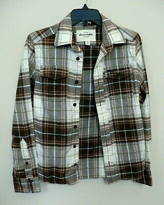 Abercrombie Muscle New York Plaid Button Front Long Sleeve Shirt Youth L unisex