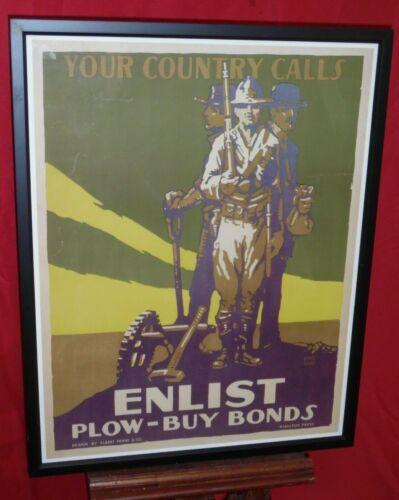WWI Poster - Enlist Plow Buy Bonds Hamilton Press Lloyd Myers Albert Frank