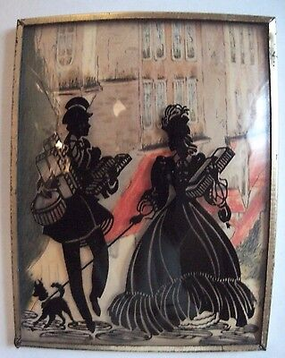 Antique Vtg CONVEX Glass Reverse Painted SILHOUETTE Framed Picture Wall Hanging