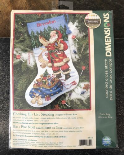 Sealed Dimensions Checking His List Cross Stitch Christmas S