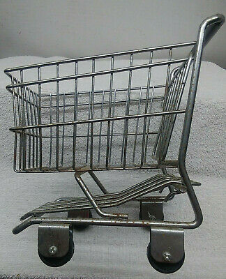 Mini Chrome Shopping Cart World Market Basket Metal Trolley Decor Planter