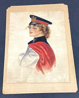 Original 1913 US Army Female Nurse Watercolor Painting