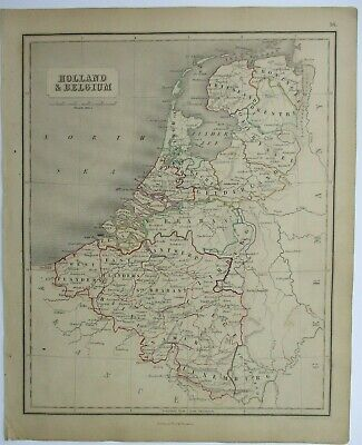 Antique Map of Holland and Belgium by William & Robert Chambers 1845