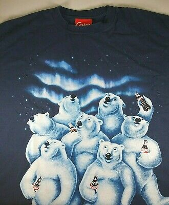 Vintage 1994 men's COCA COLA COKE POLAR BEAR T-SHIRT XL Navy Blue - C