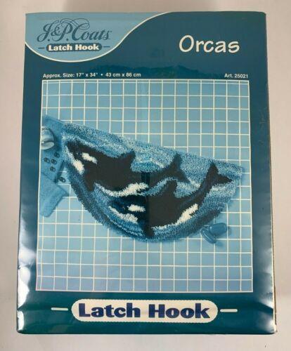 "J&P Coats Latch Hook Rug Kit ORCAS 17""x34"" Half Moon Bath Mat KILLER WHALES NIB"