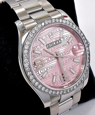 ROLEX DATEJUST 36mm OYSTER PERPETUAL DIAMOND BEZEL PINK DIAL LADIES WATCH 116200