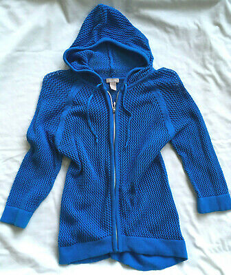 Chico's 1 Women's True Blue Cotton Full Zip Sheer Mesh Hoodie Jacket 3/4 Sleeves