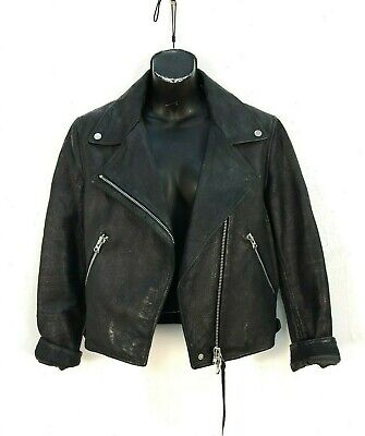Acne Leather Jacket Rita Black Moto Jacket Womens Biker Coat