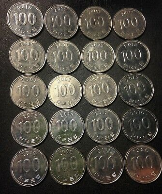 Old South Korea Coin Lot   100 Won   20 Great Coins   Free Shipping