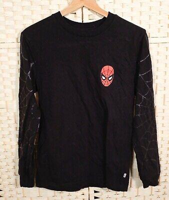 Vans X Marvel Spider-Man Longsleeve T Shirt XS S Black Logo Superhero Crew Neck