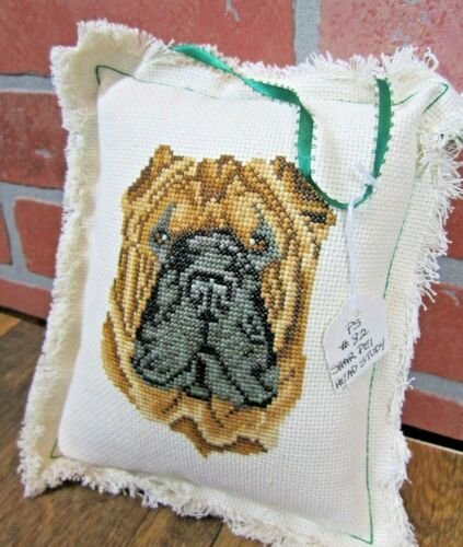 Shar Pei dog handmade embroidered decorative pillow NEW head study collector