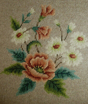 Vintage Framed Tapestry Summer Flowers Picture Hand Made Square Wall Hanging 15