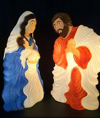 "VTG Grand Ventures Large 29"" Mary, Jesus & Joseph Nativity Blow Mold Set"