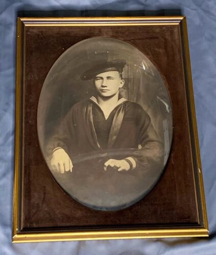 Vintage US Navy Enlisted Sailors Framed Convex Portrait
