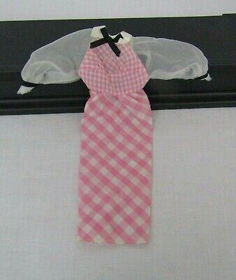 Vintage Quick Curl Barbie Original Pink White Gingham Doll Dress #4220