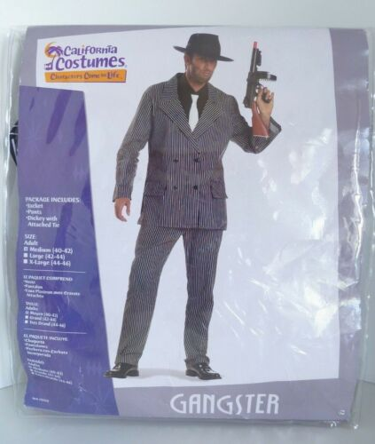 Gangster Halloween Adult Costume Pinstripe Suit Mob Mafia California Costumes