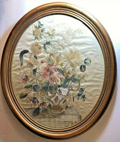 Antique Framed Needlework on Silk ~ Sampler ~ Pictorial Still Life ~ Circa 1825