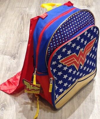New DC Warner Bros. Wonder Woman Backpack w Detachable Cape Red Blue Gold NWT