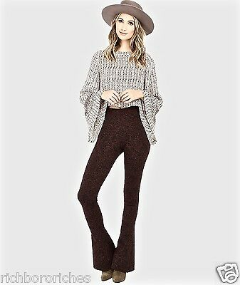 NEW Free People wine black stretch Lurex Sweater Flare Pants Leggings M