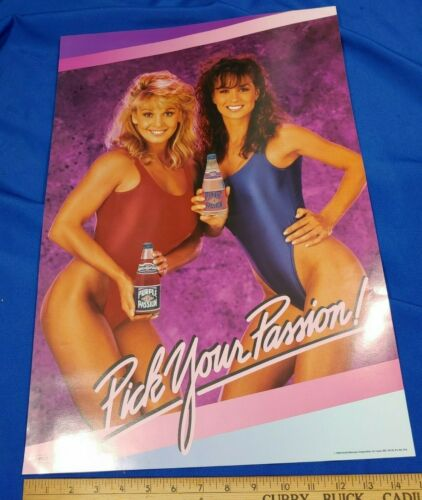 1992 Everclear Purple Passion Pinup Swimsuit Model Poster Sign VTG Advertising